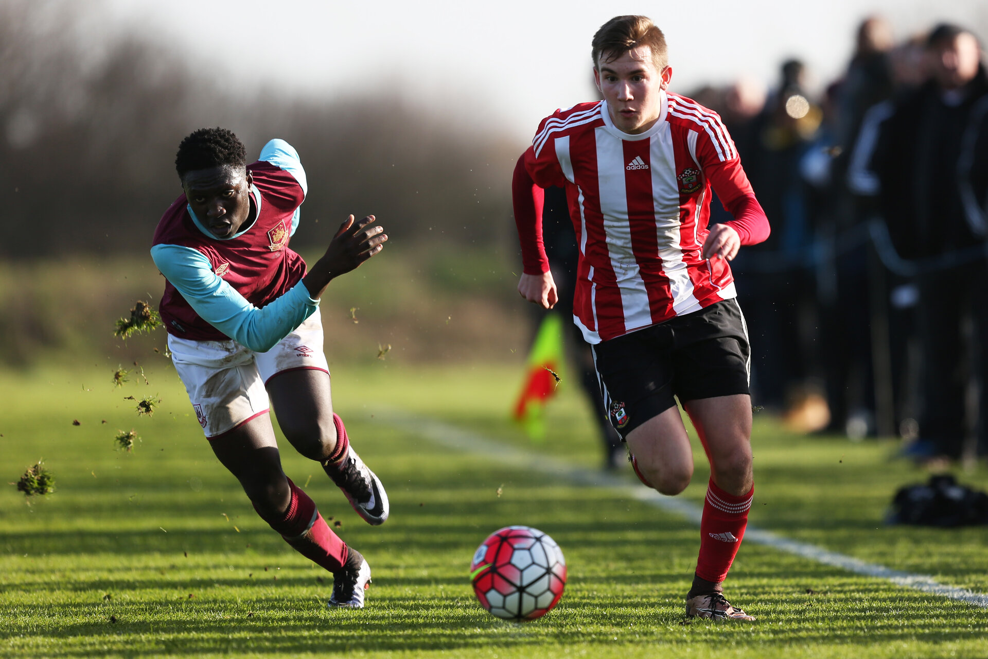 Jake Vokins during the U18 Premier League match between Southampton FC and West Ham United FC, at The Little Heath Training Ground, London, 23rd January 2016