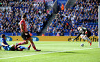 Charie Austin hits the post during the Premier League match between Leicester City and Southampton at the King Power Stadium, Leicester, England on 2 October 2016. Photo by Matt  Watson/SFC/Digital South.