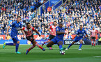 Nathan Redmond shoots at goal during the Premier League match between Leicester City and Southampton at the King Power Stadium, Leicester, England on 2 October 2016. Photo by Matt  Watson/SFC/Digital South.
