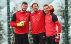 L to R, goalkeepers Fraser Forster, Stuart Taylor and Harry Lewis, during a Southampton FC training session at the Staplewood Campus, Southampton, 28th October 2016