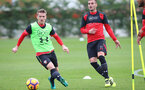 Steven Davis(left) and Dusan Tadic during a Southampton FC training session at the Staplewood Campus, Southampton, 28th October 2016