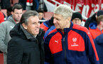 Claude Puel(left) and Arsene Wenger during the EFL Cup match between Arsenal and Southampton at the Emirates Stadium, London, England on 30 November 2016. Photo by Matt  Watson/SFC/Digital South.