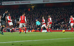 Ryan Bertrand scores during the EFL Cup match between Arsenal and Southampton at the Emirates Stadium, London, England on 30 November 2016. Photo by Matt  Watson/SFC/Digital South.