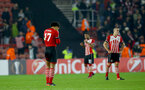 Dejected Saints players during the UEFA Europa League match between Southampton and Hapoel Be'er Sheva F.C. at St Mary's Stadium, Southampton, England on 8 December 2016. Photo by Matt Watson/SFC/Digital South.