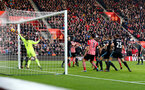 Shane Long's header finds the back of the net during the Premier League match between Southampton and West Bromwich Albion at St Mary's Stadium, Southampton, England on 31 December 2016. Photo by Matt Watson/SFC/Digital South.
