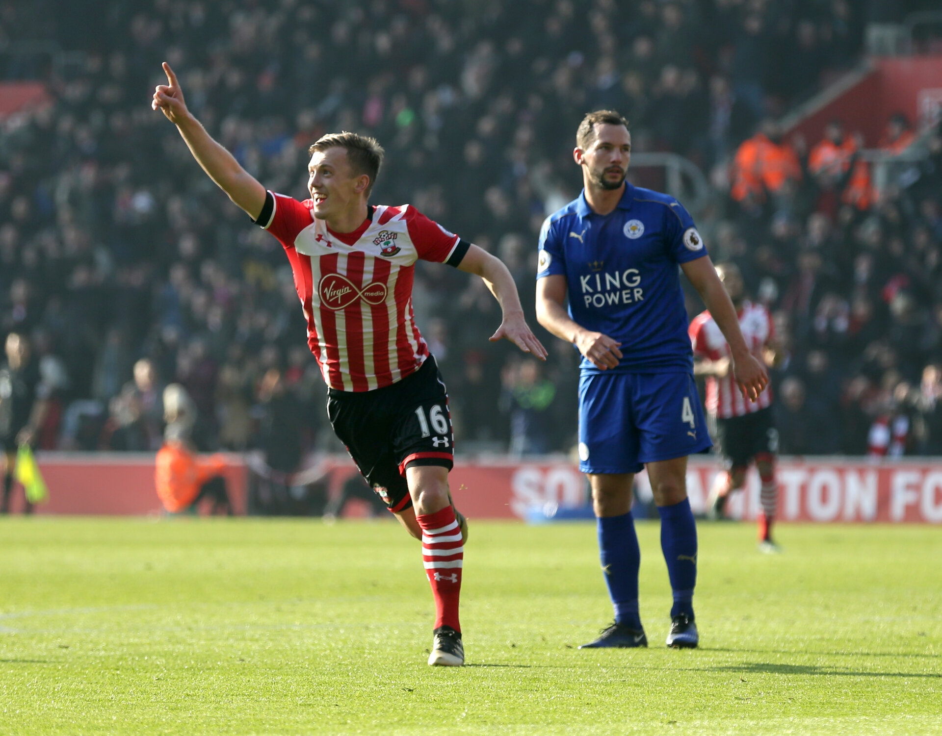 James Ward-Prowse (Southampton) celebrates making it 1-0 during the Premier League match between Southampton and Leicester City at St Mary's Stadium, Southampton, England on 22 January 2017.