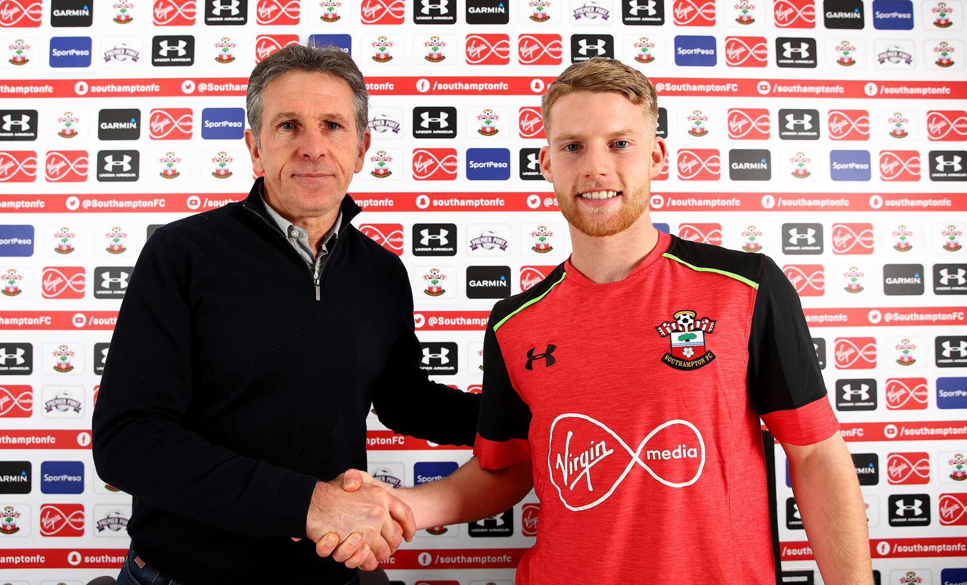 Josh Sims signs a new contract with Southampton FC at the Staplewood Campus, Southampton, 23rd January 2017, with manager Claude Puel