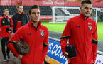 Cedric9left) and Dusan Tadic during the Premier League match between Swansea City and Southampton at the Liberty Stadium, Swansea, Wales on 31 January 2017. Photo by Matt Watson/SFC/Digital South.