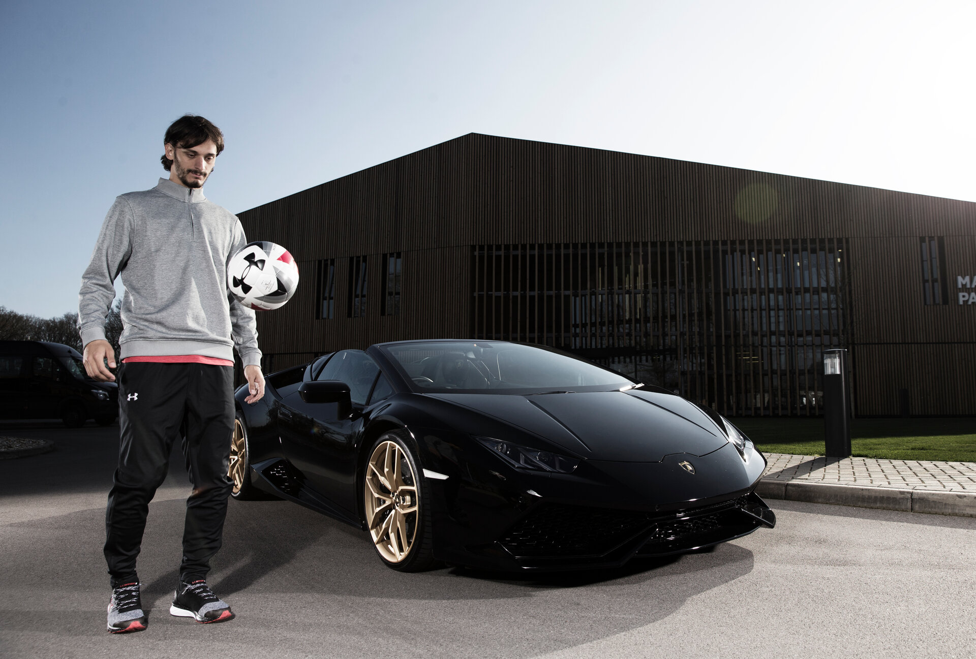 Manolo Gabbiadini pictured with a Lamborghini, for Saints magazine at the Staplewood Campus, Southampton, 15th March 2017