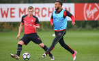 James Ward-Prowse(left) and Ryan Bertrand during a Southampton FC training session at the Staplewood Campus, Southampton, 30th March 2017