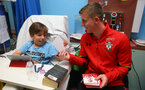Southampton FC's Matt Targett as players visit children, parents and staff at Southampton General Hospital, 12th April 2017, photo by Matt Watson