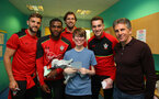 Southampton FC players L to R, Jay Rodriguez, Cuco Martina, Stuart Taylor, Harry Lewis and manager Claude puel visit children, parents and staff at Southampton General Hospital, 12th April 2017, photo by Matt Watson