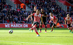 Dusan Tadic misses from the penalty spot during the Premier League match between Southampton and Hull City at St Mary's Stadium, Southampton, England on 29 April 2017. Photo by Matt Watson/SFC/Digital South.