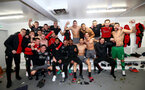 Southampton players celebrate in the dressing room during the EFL Cup match between Liverpool and Southampton at Anfield, Liverpool, England on 25 January 2017. Photo by Matt Watson/SFC/Digital South.