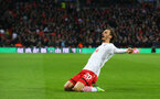 Manolo Gabbiadini celebrates during the EFL Cup Final match between Manchester United and Southampton at Wembley Stadium, London, England on 26 February 2017. Photo by Matt Watson/SFC/Digital South.