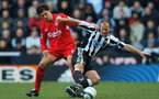 NEWCASTLE, ENGLAND - MARCH 5: Alan Shearer of Newcastle and Mauricio Pellegrino of Liverpool challenge for the ball during the Barclays Premiership match between Newcastle United and Liverpool at St James Park on March 5, 2005 in Newcastle, England. (Photo by Matthew Lewis/Getty Images)