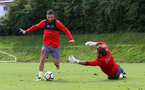 Charlie Austin(left) and Stuart Taylor during a Southampton FC pre-season training session, in Evian, France, 27th July 2017