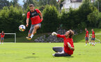 Jeremy Pied(left) and Stuart Taylor during a Southampton FC pre-season training session, in Evian, France, 27th July 2017