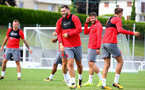 Charlie Austin during a Southampton FC pre-season training session, in Evian, France, 28th July 2017
