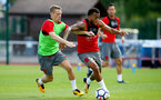 Steven Davis(left) and Ryan Bertrand during a Southampton FC pre-season training session, in Evian, France, 28th July 2017