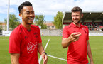 Maya Yoshida(left) and Jack Stephens during a pre season friendly between St Etienne(white) and Southampton FC(black), at The Stade Municipal de Chambéry, France, 29th July 2017