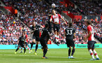 SOUTHAMPTON, ENGLAND - AUGUST 12: Maya Yoshida of Southampton jumps for the ball during the Premier League match between Southampton and Swansea City at St Mary's Stadium on August 12, 2017 in Southampton, England. (Photo by Matt Watson/Southampton FC via Getty Images)