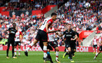 Maya Yoshida heads over. Southampton v Swansea City, Premier League, St Mary's Stadium.         Picture: Chris Moorhouse 07932 522561