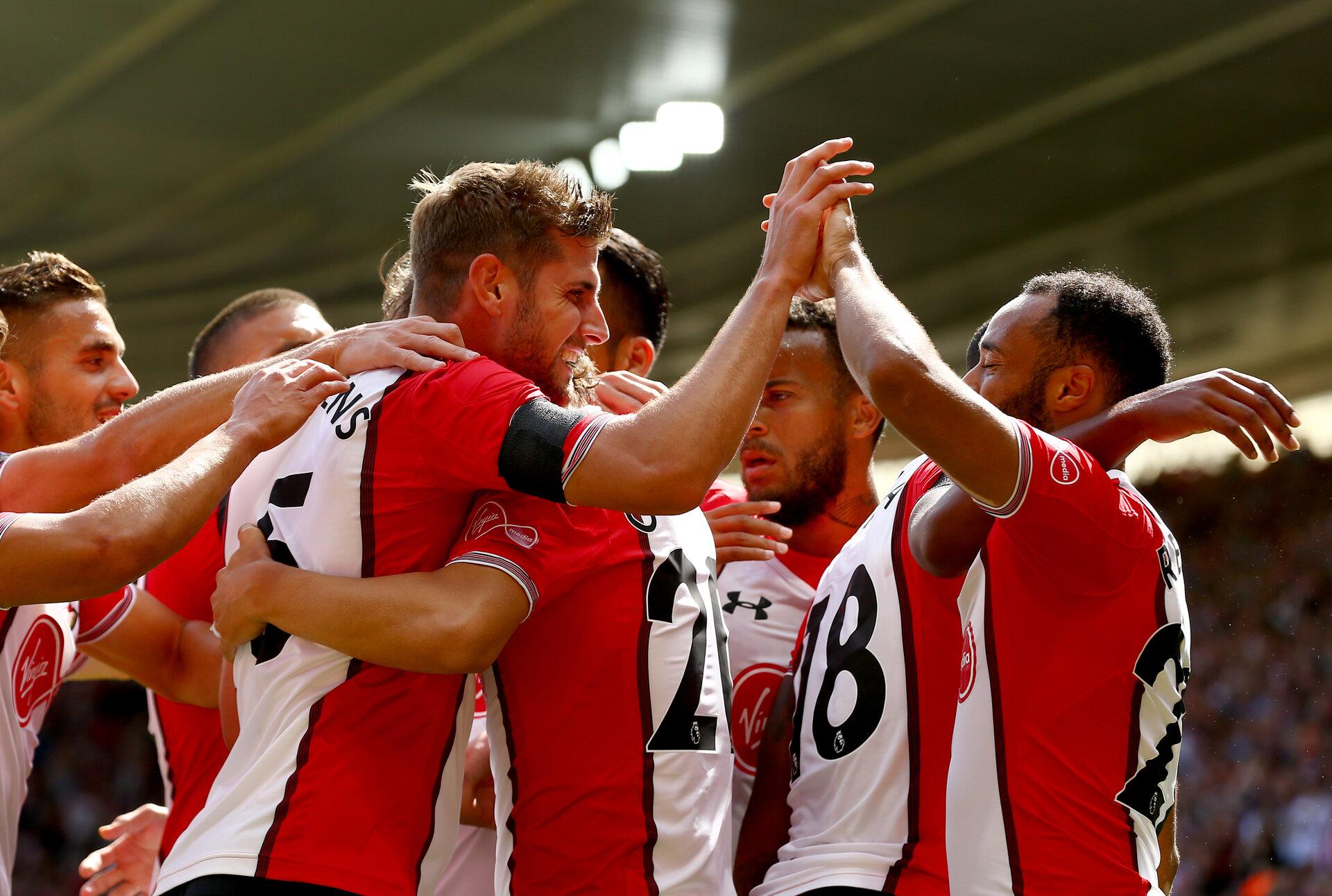 SOUTHAMPTON, ENGLAND - AUGUST 19: Southampton players celebrate during the Premier League match between Southampton and West Ham United at St Mary's Stadium on August 19, 2017 in Southampton, England. (Photo by Matt Watson/Southampton FC via Getty Images)