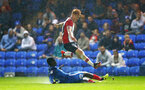 Will Wood hurdles a tackle during the Check a Trade Trophy group stage match between Peterborough United and Southampton FC U21, at ABAX Stadium, Peterborough, 29th August 2017