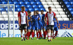 Peterborough celebrate their second goal during the Check a Trade Trophy group stage match between Peterborough United and Southampton FC U21, at ABAX Stadium, Peterborough, 29th August 2017