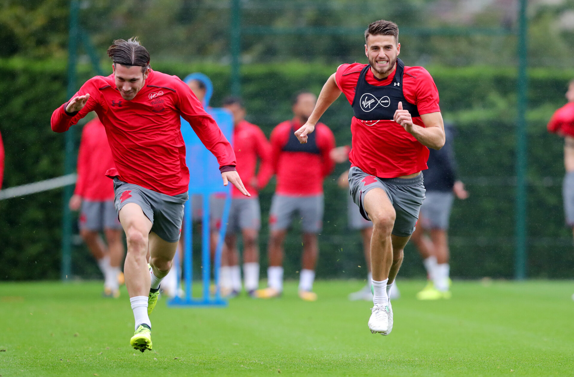 SOUTHAMPTON, ENGLAND - SEPTEMBER 21: Pierre-Emile Hojbjerg(left) and Wesley Hoedt during a Southampton FC training session at the Staplewood Campus on September 21, 2017 in Southampton, England. (Photo by Matt Watson/Southampton FC via Getty Images)