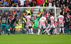 STOKE ON TRENT, ENGLAND - SEPTEMBER 30: Mame Diouf opens the scoring for Stoke during the Premier League match between Stoke City and Southampton at the Bet365 Stadium on September 30, 2017 in Stoke on Trent, England. (Photo by Matt Watson/Southampton FC via Getty Images)