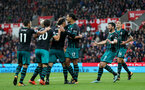 STOKE ON TRENT, ENGLAND - SEPTEMBER 30: Southampton players celebrate after Maya Yoshida equalises during the Premier League match between Stoke City and Southampton at the Bet365 Stadium on September 30, 2017 in Stoke on Trent, England. (Photo by Matt Watson/Southampton FC via Getty Images)