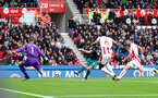 STOKE ON TRENT, ENGLAND - SEPTEMBER 30: Southampton's Shane Long shots at goal during the Premier League match between Stoke City and Southampton at the Bet365 Stadium on September 30, 2017 in Stoke on Trent, England. (Photo by Matt Watson/Southampton FC via Getty Images)