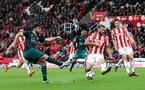 STOKE ON TRENT, ENGLAND - SEPTEMBER 30: Southampton's Shane Long shoots at goal during the Premier League match between Stoke City and Southampton at the Bet365 Stadium on September 30, 2017 in Stoke on Trent, England. (Photo by Matt Watson/Southampton FC via Getty Images)
