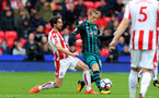 STOKE ON TRENT, ENGLAND - SEPTEMBER 30: Southampton's Steven Davis(right) and Joe Allen of Stoke during the Premier League match between Stoke City and Southampton at the Bet365 Stadium on September 30, 2017 in Stoke on Trent, England. (Photo by Matt Watson/Southampton FC via Getty Images)