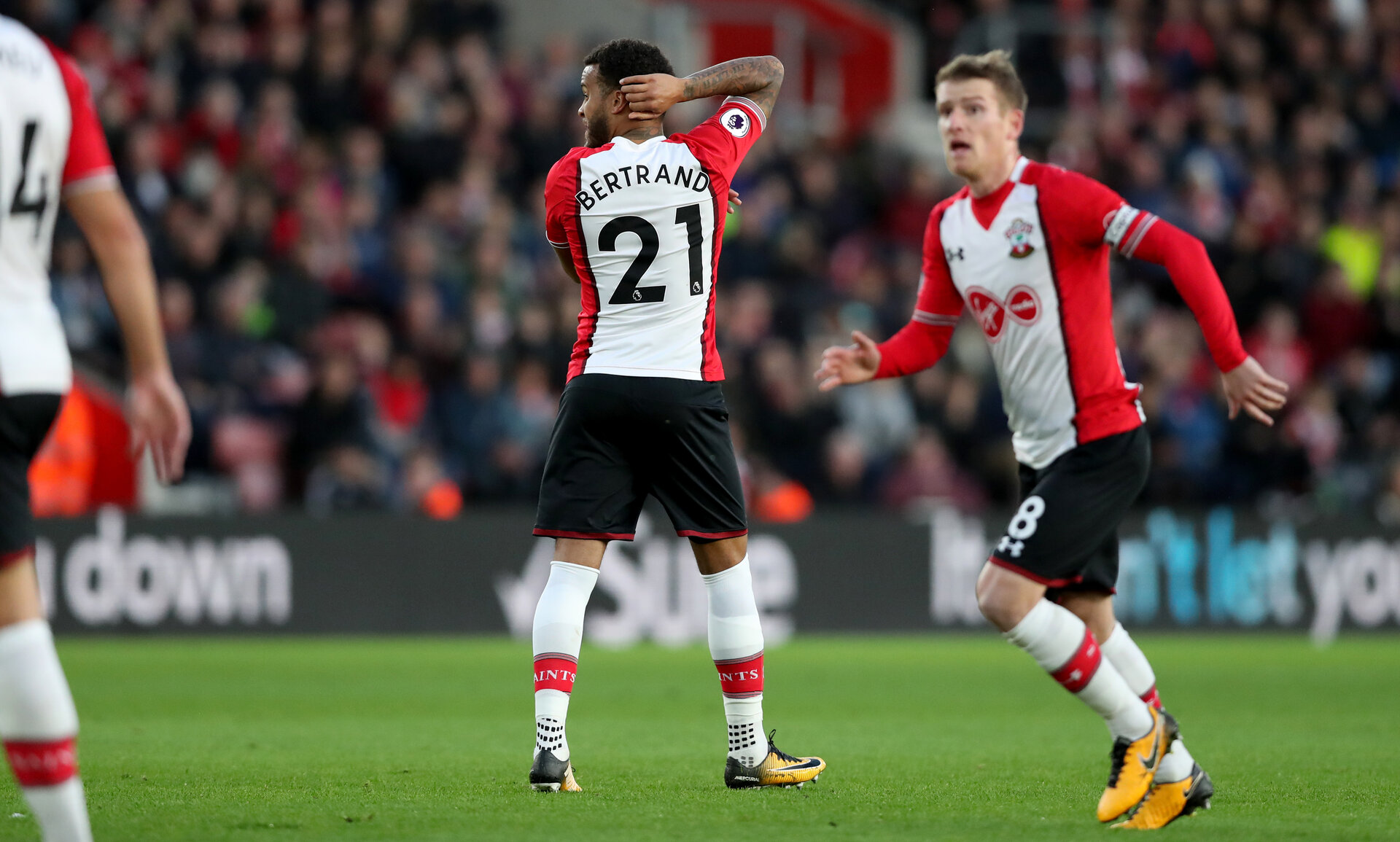 SOUTHAMPTON, ENGLAND - OCTOBER 21: Southampton's Ryan Bertrand hits the post with a free-kick during the Premier League match between Southampton and West Bromwich Albion at St Mary's Stadium on October 21, 2017 in Southampton, England. (Photo by Matt Watson/Southampton FC via Getty Images)