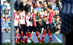 BRIGHTON, ENGLAND - OCTOBER 29: Southampton's Virgil Van Dijk(right) celebrates with team mates after Steven Davis opens the scoring during the Premier League match between Brighton and Hove Albion and Southampton at the Amex Stadium on October 29, 2017 in Brighton, England. (Photo by Matt Watson/Southampton FC via Getty Images)