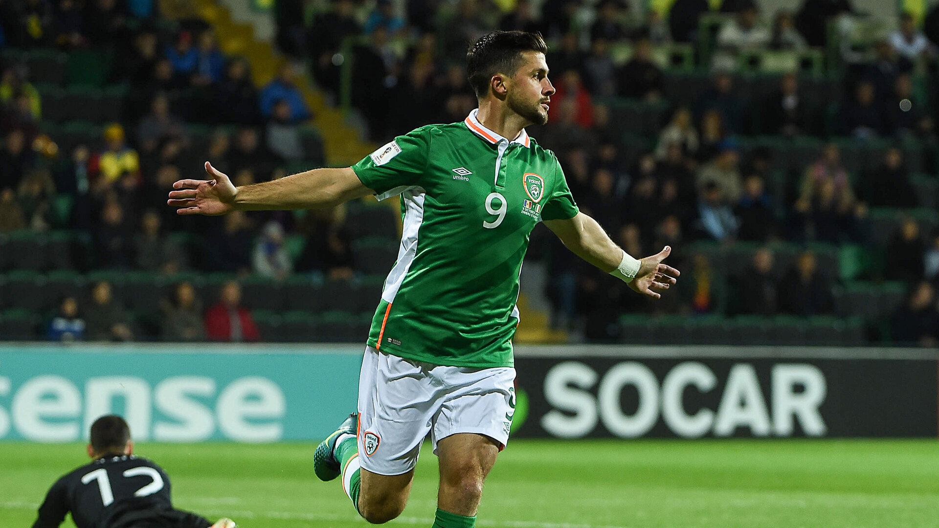 Chisinau , Moldova - 9 October 2016; Shane Long of Republic of Ireland celebrates after scoring his side's first goal during the FIFA World Cup Group D Qualifier match between Moldova and Republic of Ireland at Stadionul Zimbru in Chisinau, Moldova. (Photo By David Maher/Sportsfile via Getty Images)