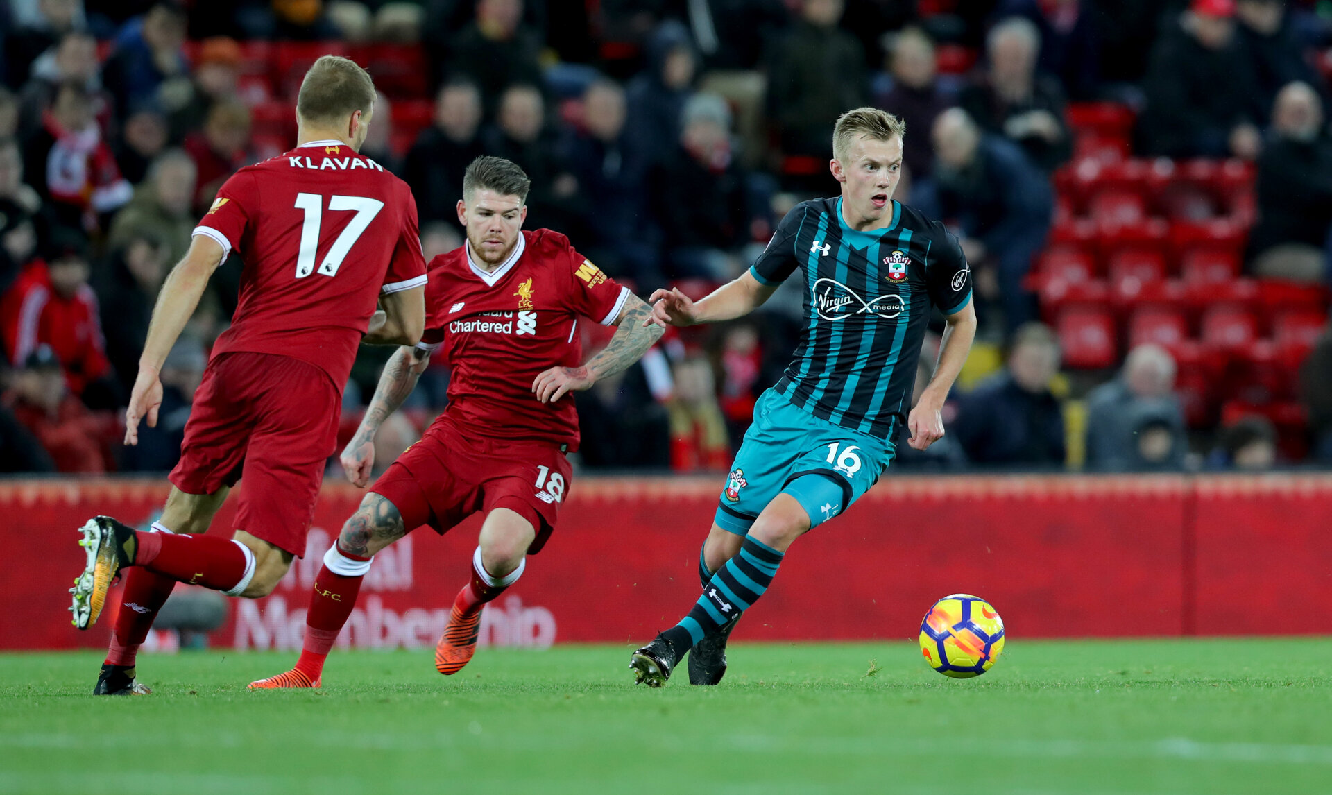 LIVERPOOL, ENGLAND - NOVEMBER 18: Southampton's James Ward-Prowse during the Premier League match between Liverpool and Southampton at Anfield on November 18, 2017 in Liverpool, England. (Photo by Matt Watson/Southampton FC via Getty Images)