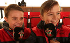 SOUTHAMPTON, ENGLAND - NOVEMBER 26: Junior commentators Benjy Clarke (L) and Riley Teague before the Premier League match between Southampton and Everton at St Mary's Stadium on November 26, 2017 in Southampton, England. (Photo by Chris Moorhouse/Southampton FC via Getty Images)