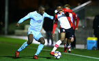 SOUTHAMPTON, ENGLAND - DECEMBER 11: Nathan Tella of Southampton FC (right) during the Premier League 2 between Southampton FC and Wolverhampton FC U23's match at Staplewood Complex on December 11, 2017 in Southampton, England. (Photo by James Bridle - Southampton FC/Southampton FC via Getty Images)