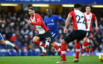 LONDON, ENGLAND - DECEMBER 16: LtoR Manolo Gabbiadini, NÕGolo Kante, Nathan Redmond, Pierre-Emile H¿jbjerg during the Premier League match between Chelsea and Southampton FC at Stamford Bridge on December 16, 2017 in London, England. (Photo by James Bridle - Southampton FC/Southampton FC via Getty Images) LONDON, ENGLAND - DECEMBER 16: LtoR Manolo Gabbiadini, N'Golo Kante, Nathan Redmond, Pierre-Emile Højbjerg during the Premier League match between Chelsea and Southampton FC at Stamford Bridge on December 16, 2017 in London, England. (Photo by James Bridle - Southampton FC/Southampton FC via Getty Images)