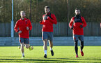 SOUTHAMPTON, ENGLAND - DECEMBER 28: LtoR Josh Sims, Sam McQueen, Shane Long during a Southampton FC training session at Staplewood Complex on December 28, 2017 in Southampton, England. (Photo by James Bridle - Southampton FC/Southampton FC via Getty Images)