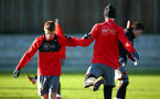 SOUTHAMPTON, ENGLAND - DECEMBER 28: LtoR Jake Hesketh, Florin Gardos during a Southampton FC training session at Staplewood Complex on December 28, 2017 in Southampton, England. (Photo by James Bridle - Southampton FC/Southampton FC via Getty Images)