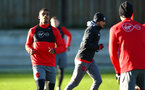 SOUTHAMPTON, ENGLAND - DECEMBER 28: Mario Lemina (left) during a Southampton FC training session at Staplewood Complex on December 28, 2017 in Southampton, England. (Photo by James Bridle - Southampton FC/Southampton FC via Getty Images)