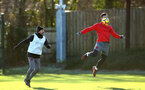 SOUTHAMPTON, ENGLAND - DECEMBER 28: Florin Gardos (right) during a Southampton FC training session at Staplewood Complex on December 28, 2017 in Southampton, England. (Photo by James Bridle - Southampton FC/Southampton FC via Getty Images)