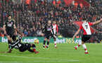SOUTHAMPTON, ENGLAND - JANUARY 02: Southampton's Shane Long scores during the Premier League match between Southampton and Crystal Palace at St Mary's Stadium on January 2, 2018 in Southampton, England. (Photo by Matt Watson/Southampton FC via Getty Images)