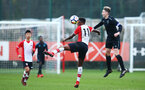 SOUTHAMPTON, ENGLAND - JANUARY 06: Jonathan Afolabi (middle) during the PL2 match between Southampton FC and West Ham United FC at Staplewood Complex on January 6, 2018 in Southampton, England. (Photo by James Bridle - Southampton FC/Southampton FC via Getty Images)