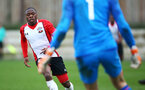 SOUTHAMPTON, ENGLAND - JANUARY 06: Michael Obafemi (left) during the PL2 match between Southampton FC and West Ham United FC at Staplewood Complex on January 6, 2018 in Southampton, England. (Photo by James Bridle - Southampton FC/Southampton FC via Getty Images)